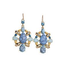 NEW J CREW Nabila Blue Swirl Gold Statement Earrings