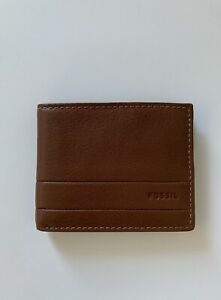 NWT Fossil SML1390210 Lufkin Traveler Men's Leather Wallet MEDIUM BROWN