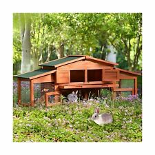 Merax 70-Inch Wooden Rabbit Hutch Outdoor Pet House Cage for Small Animals wi...