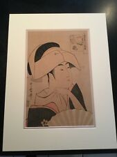 Vintage Kitagawa UTAMARO Japanese Woodblock Print Of Geisha Beauty Contemplative