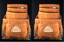 10 pocket LEATHER Carpenter Electrician Nail & Tool bag waist belt pouch 2 PACK
