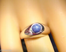 ROYAL BLUE LAB CREATED STAR SAPPHIRE VINTAGE 10K WHITE GOLD RING