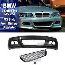 M3 Style 4D Front Bumper Cover Unpainted For BMW 1999-2005 3 Series E46 SEDAN