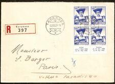 Suisse:Enveloppe recommandée de Tavannes pour Paris 1939,Yv N° 347 bloc de 4