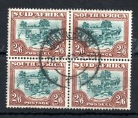 South Africa 1954 2s 6d fine used block SG#121 WS13635
