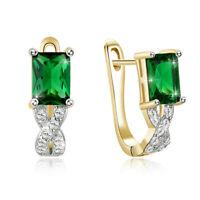 18K Gold Plated Cubic Zirconia Huggie Earrings For Elegant Women Jewelry Gift