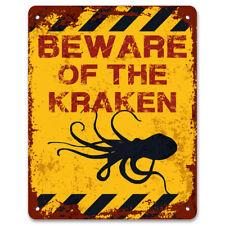 Beware Of The Kraken | Funny Vintage Metal Garden Warning Sign | Pond Sign
