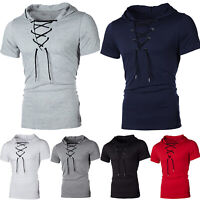 Mens Slim Fit Hoodie T- Shirt Short Sleeve Muscle Tee Lace Up Hooded Blouse Tops