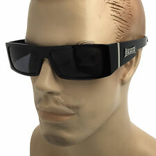LOCS BLACK FRAME SUNGLASSES Gangster OG Cholo Biker DARK LENS Mens Sunnies