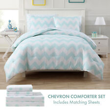 Twin or Full Chevron Bed in a Bag Comforter and Sheet Bedding Set, Aqua White