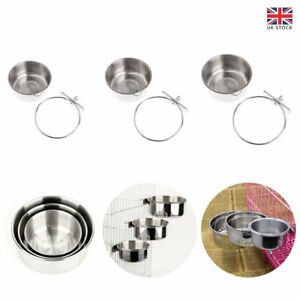 Stainless Steel Hanging Bowl Feeding Pet Cat Dog Bird Parrot Food Water Cage Cup
