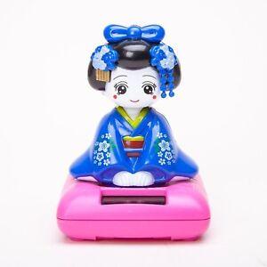 Solar Powered Bobblehead Toy Figure Nohohon, Japanese Kimono Maiko Geisha - B...