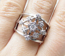 Thick Band Ring Sz 7 - Rg1968 925 Sterling Silver - White Cubic Zirconia