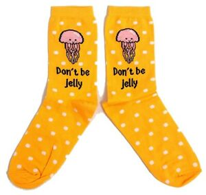 LADIES DON'T BE JELLY - JELLY FISH YELLOW SOCKS UK SIZE 4-8 EUR 37-42 US 6-10