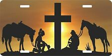 Christian Cowboy Cowgirl Praying Cross Horse Christ License Plate Car Truck Tag