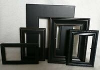 Vintage 5 Black Wood PICTURE FRAME Lot Recycle Arts Crafts Project Deco geo