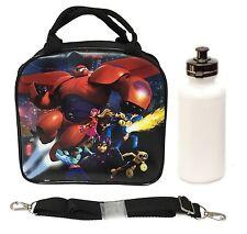 Disney Big Hero 6 Lunch Box Carry Bag w/ Shoulder Strap & Water Bottle - Black