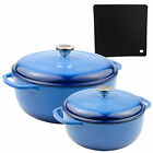Lodge 2-Piece Enameled Cast Iron Dutch Oven, Covered Casserole Dish Cookware Set