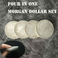 Four in One Morgan Dollar Set Coin Magic Tricks Close Up Illusions Gimmicks Prop