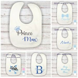 💙 Personalised baby Boys Bib any name home hospital new baby baby shower gift