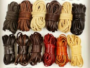 2Meters Multicolor Natural Genuine Leather Cords Round/Flat For Jewelry Material