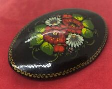 Vintage Fashion Pin Russia Painted Flowers Brooch