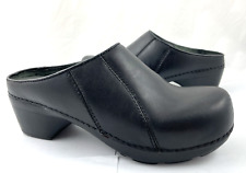 Dansko Women's Size 6.5 7 37 Suri Mules Clogs Leather Black Shoes Reg $125