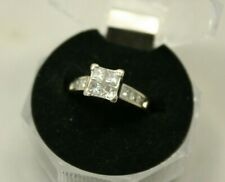14K Gold Invisible Set 1.00cwt Diamond Wedding Engagement Ring 4.2g size 3.25