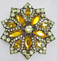 VINTAGE Yellow Golden RHINESTONES PIN BROOCH Flower Art Deco Style URANIUM GLASS