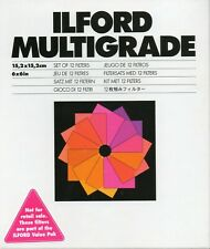 """Ilford Multigrade set of 12 filters 6""""x6"""" (missing 2-1/2)"""