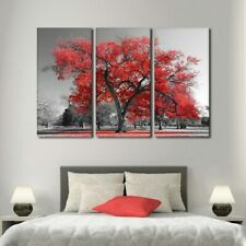 Red Tree Scenery Nature 3 pcs HD Modern Art Poster Home Decor Canvas Print