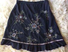 AKS by Amy K Su Black Skirt Silk Cotton Embroidered Flowers A Line Women Sz 14