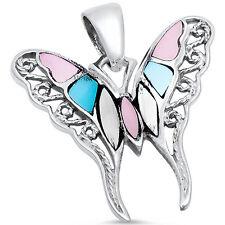 Multi Gemstone Filigree Butterfly .925 Sterling Silver Pendant
