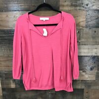New Ann Taylor Loft Women's Pink Tassel Popover Top Size Small