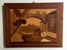 """Wood Marquetry Plaque Picture 9"""" Vtg Volcano Mountain Village Exotic Inlay"""