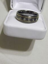 Tungsten Carbide Ring, Two Thin Gold Bands & 5 Diamond Accents, Size 11.5