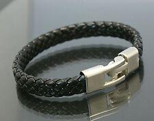 Men Women's Unisex Leather Bracelet Brass Clasp Black SAME DAY SHIPPING!!!