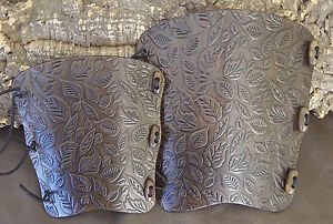 Embossed autumn leaves leather archery arm guard, bracer, armguard, larp, pagan