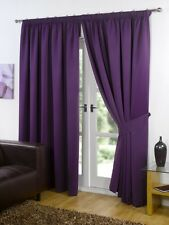 Pair of Plum / Purple 46 Width X 54 Drop Supersoft Thermal Blackout Curtains