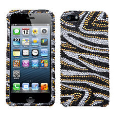 For iPhone 5 5S SE Crystal Diamond BLING Hard Case Phone Cover Silver Gold Zebra