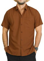 "LA LEELA Rayon Camp Button Down Men's Shirt Brown Large | Chest 44"" - 48"""