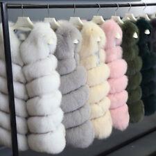 HOT Women Short Vest Gilet Outwear Warm Faux Fox Fur Waistcoat Jacket Coat S-3XL