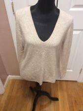 Vertical Design XLARGE Cashmere V-Neck Women Sweater $187.00 Beige