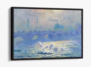 CLAUDE MONET WATERLOO BRIDGE FLOAT EFFECT CANVAS WALL ART PIC PRINT- BLUE