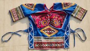 BOHO ETHNIC RABARI BANJARA TRIBAL KUCHI BELLY DANCE MIRROR INDIAN CHOLI TOP ATS