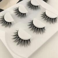 Handmade Eye Lashes 100% Real Mink Hair 3D Natural Long Cross False Eyelashes US
