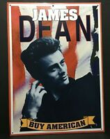 """Vintage 1998 James Dean Buy American Retro Tin Sign 17.25"""" x 12.5"""" Made In USA"""