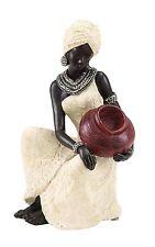 Sculptured African Art Black Skin Woman in Ivory Dress Indoor Outdoor Polystone
