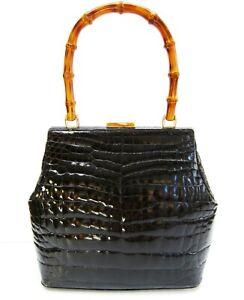 GUCCI Vintage CROCODILE ALLIGATOR Bamboo Satchel Bag Black Gold Tone GG Rare