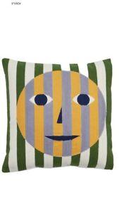 "Dusen Dusen Designer Double Sided Face Pillow NWT 18"" Square Cotton Acrylic"